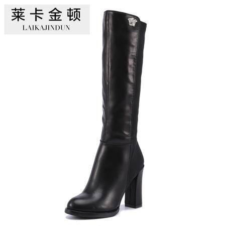 莱卡金顿正品秋冬女鞋新款高跟弹力靴呛口女靴子粗跟长靴马丁靴女