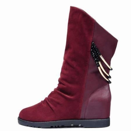 莱卡金顿隐形内增高平底中筒靴西施绒圆头纯色骑士靴
