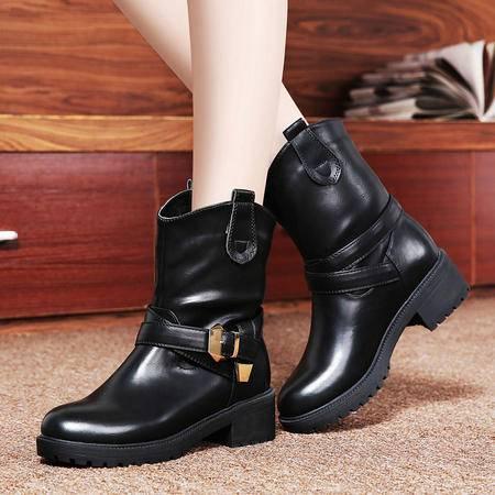 莱卡金顿正品秋冬新款中跟女靴子粗跟短靴中筒短筒马丁靴女英伦风