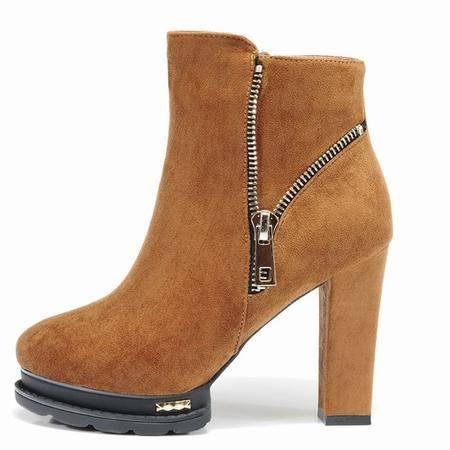 莱卡金顿短靴女高跟秋冬橡胶底圆头马丁靴女英伦保暖高跟百搭女靴