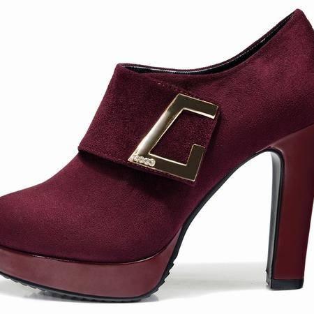 莱卡金顿春秋新款高跟短靴 防水台粗跟女靴软面短筒时尚马丁靴