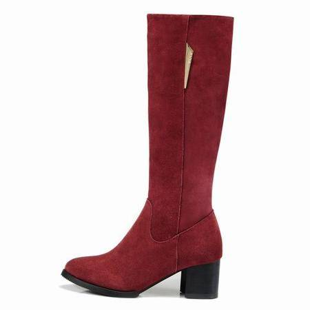 莱卡金顿女靴粗跟长筒靴女牛皮磨砂尖头时尚真皮骑士靴