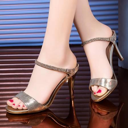 莱卡金顿2015新款凉鞋女夏 高跟女凉鞋水钻鱼嘴欧美潮细跟女鞋