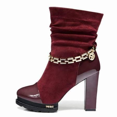莱卡金顿粗跟中筒靴 高跟防水台女靴软面西施绒马丁靴