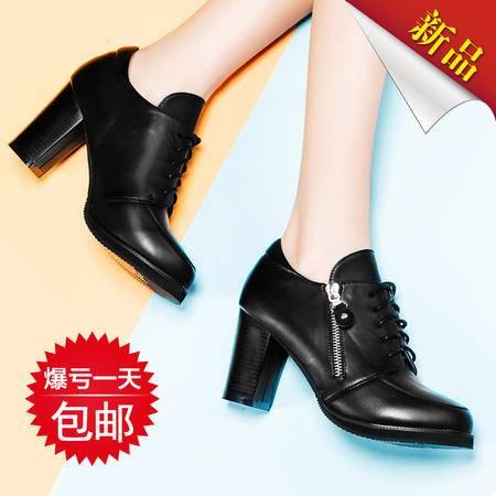 莱卡金顿2015新款春季女鞋粗跟防水台系带韩版百搭时尚深口女单鞋