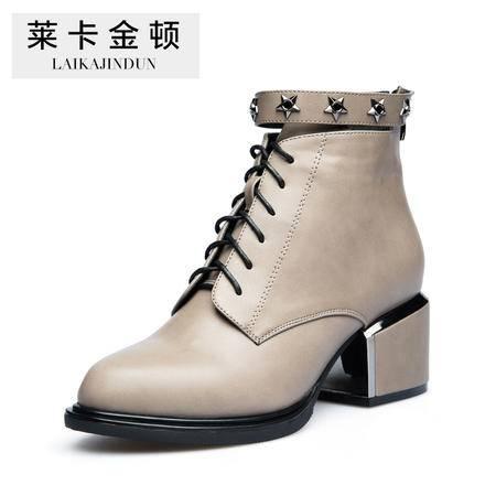 莱卡金顿2015秋冬新款女鞋英伦女靴尖头低跟粗跟短靴铆钉马丁靴潮