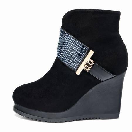 莱卡金顿 水钻坡跟短靴磨砂真皮时尚高跟优雅风马丁靴