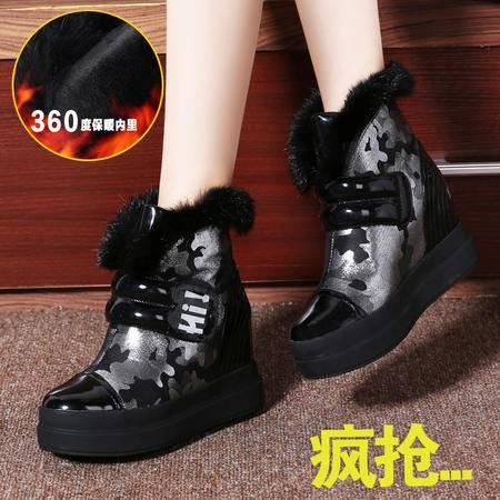 莱卡金顿正品秋冬新款厚底内增高女鞋短靴女靴子兔毛雪地靴棉靴子