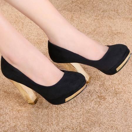 莱卡金顿春季新款欧美时尚女鞋防水台女浅口高跟鞋圆头休闲女单鞋