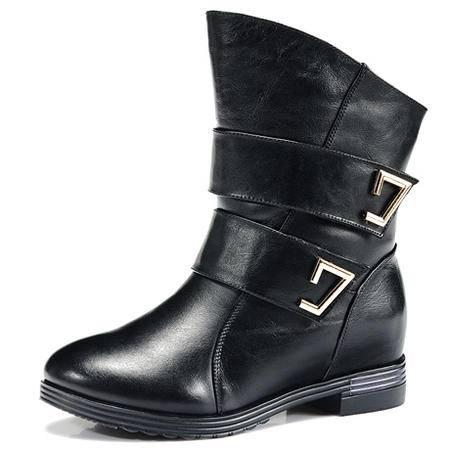 莱卡金顿春秋新款头层牛皮短靴真皮女靴软面短筒圆头中跟马丁靴