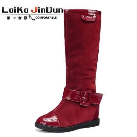 莱卡金顿隐形内增高长筒女靴平跟尖头软面西施绒骑士靴
