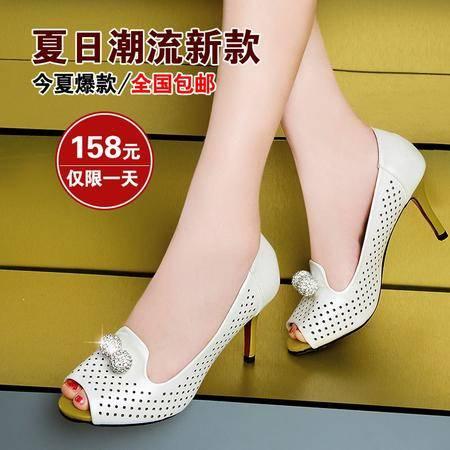 莱卡金顿2014夏季新款浅口女单鞋鱼嘴高跟女鞋时尚优雅细跟女凉鞋