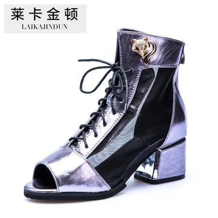 莱卡金顿 2015新款粗跟系带凉鞋女欧美潮鱼嘴网纱时尚中跟女单鞋