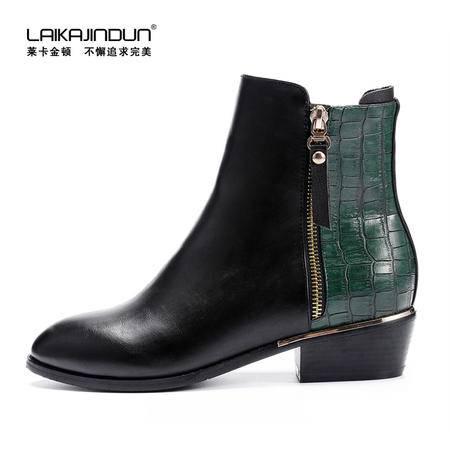 莱卡金顿正品冬款短筒马丁靴拼色女靴子 中跟短靴 时尚低跟女鞋