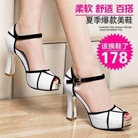 莱卡金顿2015夏季新款 凉鞋女高跟 欧美时尚粗跟防水台鱼嘴女鞋子
