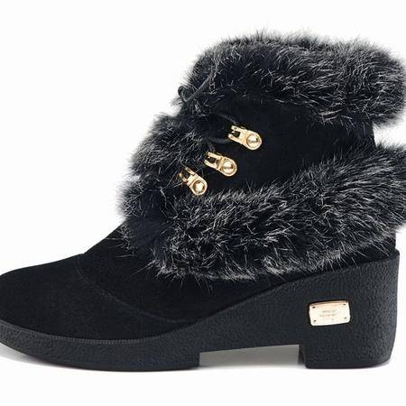 莱卡金顿 兔毛真皮短靴 坡跟女靴短筒圆头磨砂马丁靴