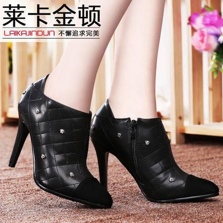 莱卡金顿春秋新款高跟铆钉休闲女鞋 时尚细跟尖头深口女单鞋