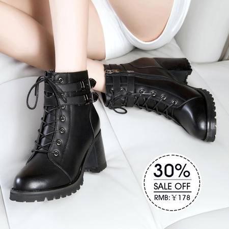 莱卡金顿2015秋冬新款女鞋中跟马丁靴粗跟系带英伦短靴皮带扣女靴
