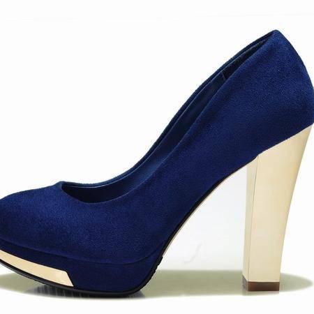 莱卡金顿春季新款高跟防水台女单鞋浅口软面橡胶时尚休闲百搭女鞋
