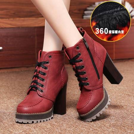 莱卡金顿 春秋新款潮女短靴高跟粗跟马丁靴女靴皮靴子英伦女鞋