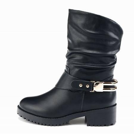 莱卡金顿春秋新款低跟中筒女靴软面圆头皮带扣时尚简约马丁靴