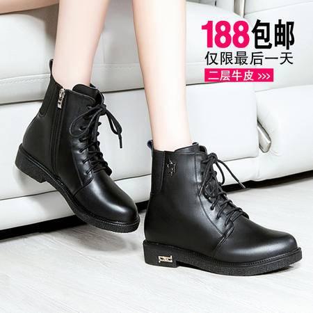 莱卡金顿秋冬新款英伦风短筒靴粗跟中跟短靴女马丁靴潮侧拉链女靴