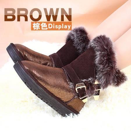 莱卡金顿免毛真皮中筒雪地靴软面中筒低跟时尚欧美女鞋