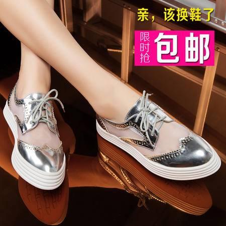莱卡金顿夏季新款 网纱透气板鞋系带英伦风平底女鞋 乐福鞋懒人鞋