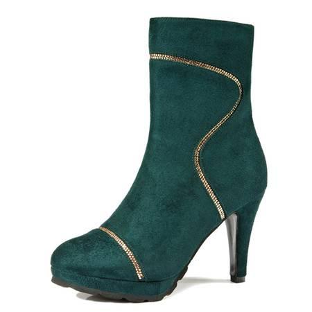 莱卡金顿水钻高跟女短靴软面细跟水钻尖头欧美骑士靴