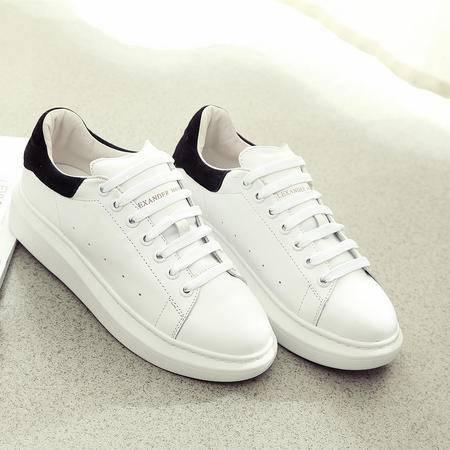 欧洲站 袁姗姗同款 小白鞋 白色真皮 女 系带 厚底 休闲鞋 板鞋 运动鞋 女鞋