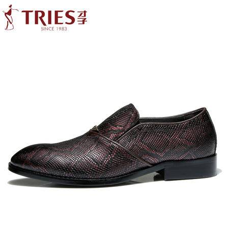 TRiES/才子皮鞋2016春季新款商务休闲鞋英伦男士真皮尖头男鞋子潮CZYC3025-2