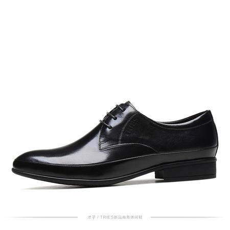 才子男鞋2016新款男士商务休闲皮鞋真皮男系带英伦潮鞋牛皮男鞋子H71C039