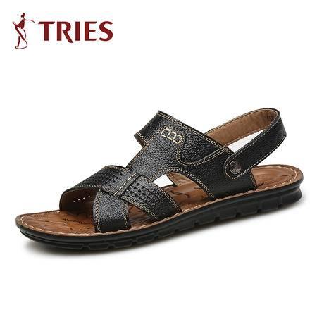 TRiES/才子拖鞋男夏季沙滩鞋男凉鞋真皮露趾防水休闲皮拖鞋H55C0981