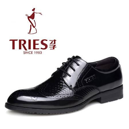 TRiES/才子男鞋布洛克雕花真皮男士鞋子复古英伦潮鞋商务休闲皮鞋H29C1801