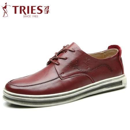 TRiES/才子男鞋时尚英伦真皮牛皮乐福鞋系带男士透气厚底休闲皮鞋 CZYC82017-2