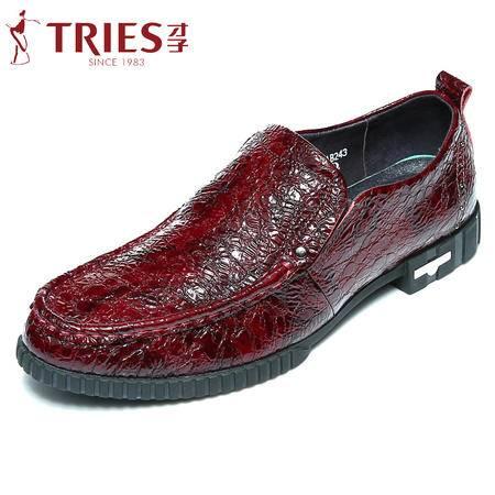 TRiES/才子皮鞋男真皮套脚春季新款商务休闲鞋鳄鱼纹耐磨潮男鞋子AHH60AB24