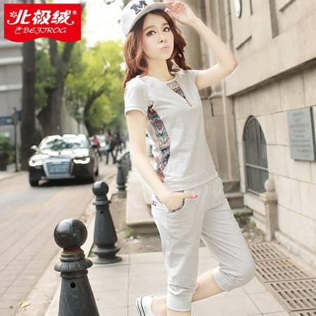 运动套装女15七分裤棉跑步 运动服短袖休闲套装女宽松两件套