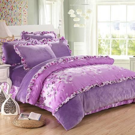 加厚法兰绒四件套 韩版珊瑚绒四件套 法莱绒被套 保暖 床上用品【全国包邮】