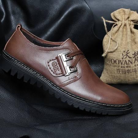 米斯康透气男士鞋休闲皮鞋商务男鞋 时尚潮流男板鞋子男英伦鞋3318