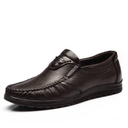 米斯康头层牛皮鞋男士鞋软底中年休闲鞋中老年男鞋爸爸鞋真皮皮鞋9083