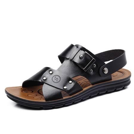米斯康正品沙滩鞋凉鞋软皮男士凉拖两用休闲凉鞋子皮凉鞋包邮708