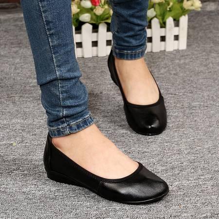 米斯康工作鞋女黑色平底鞋真皮鞋妈妈鞋职业鞋工鞋空姐鞋平跟单鞋1381