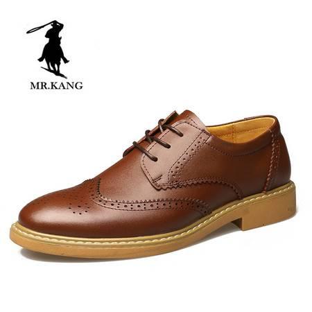 米斯康 英伦皮鞋复古布洛克雕花男鞋 秋季透气男士青年休闲鞋潮鞋9192