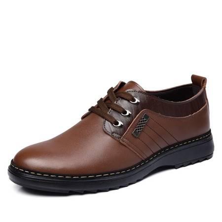 米斯康春季透气系带单鞋男士商务休闲鞋英伦真皮鞋潮流行大码男鞋981