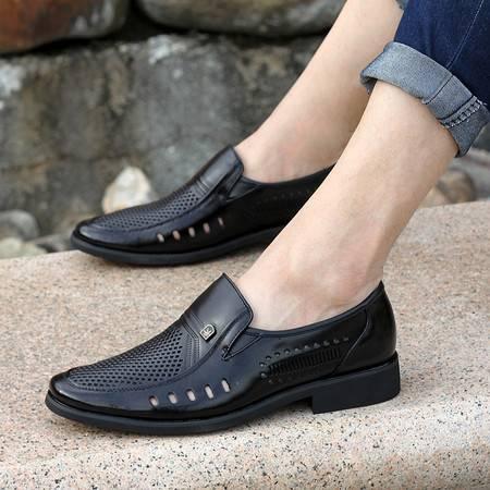 新款夏季米斯康皮凉鞋男士鞋子镂空男凉鞋真皮包头凉鞋正装皮鞋5333