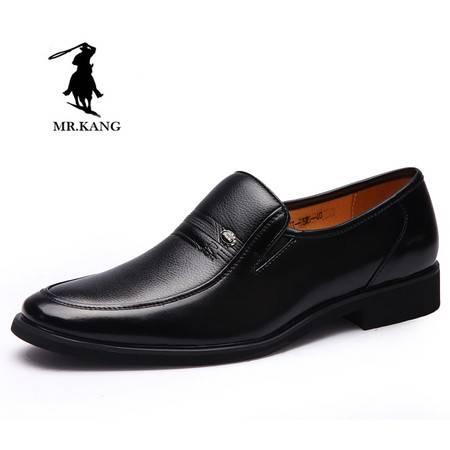 米斯康男鞋英伦商务皮鞋爸爸鞋子中老年软皮男套脚正装皮鞋535