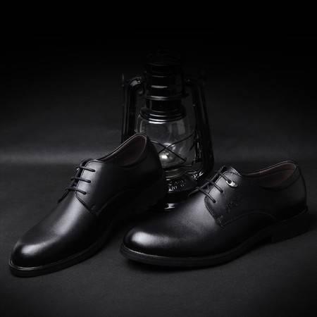 米斯康男鞋商务皮鞋休闲鞋 日常休闲真皮透气流行系带婚鞋低帮鞋5252