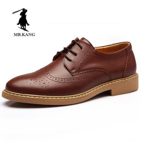 米斯康男士鞋英伦休闲车缝线男鞋厚底男款皮鞋系带牛皮商务真皮9182
