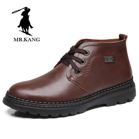 米斯康正品新款时尚潮流冬季男士棉鞋真皮高帮棉鞋男商务休闲棉鞋1158