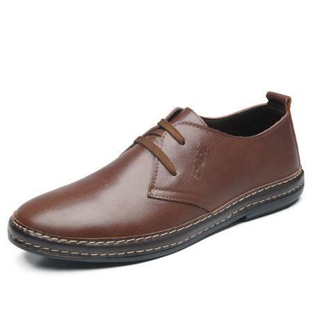 米斯康正品新款男士潮流日常休闲单鞋透气皮鞋韩版真皮男鞋板鞋6603